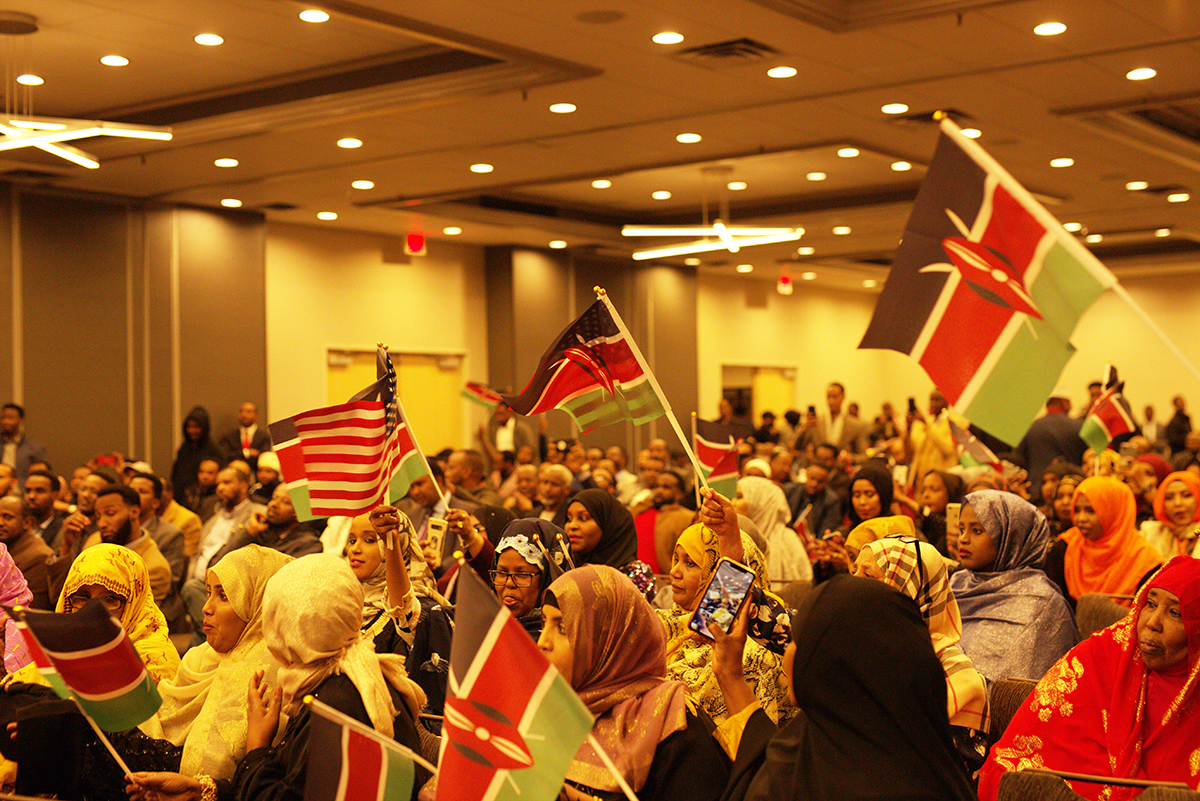Hon. Aden Duale Audience Waving Flags  in Minneapolis on January 25, 2020