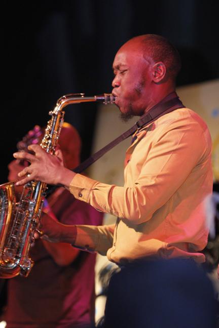 Seun Kuti with the Trumpet