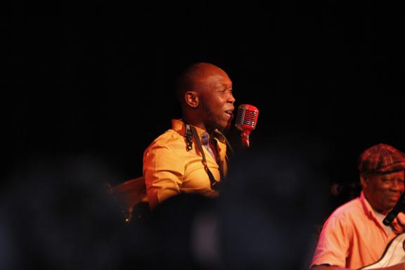 Seun Kuti on stage at the Cedar