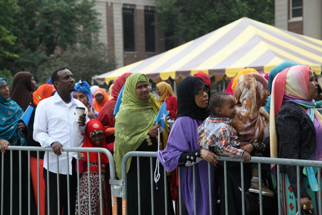Somali-Americans in the Twin Cities line up to enter Northrop Auditorium on August 9 2014 to hear president Hassan Sheikh Mohamud of Somalia despite protests by other Somali-Americans outside the auditorium. Photo: Christina Cerruti/TC Daily Planet