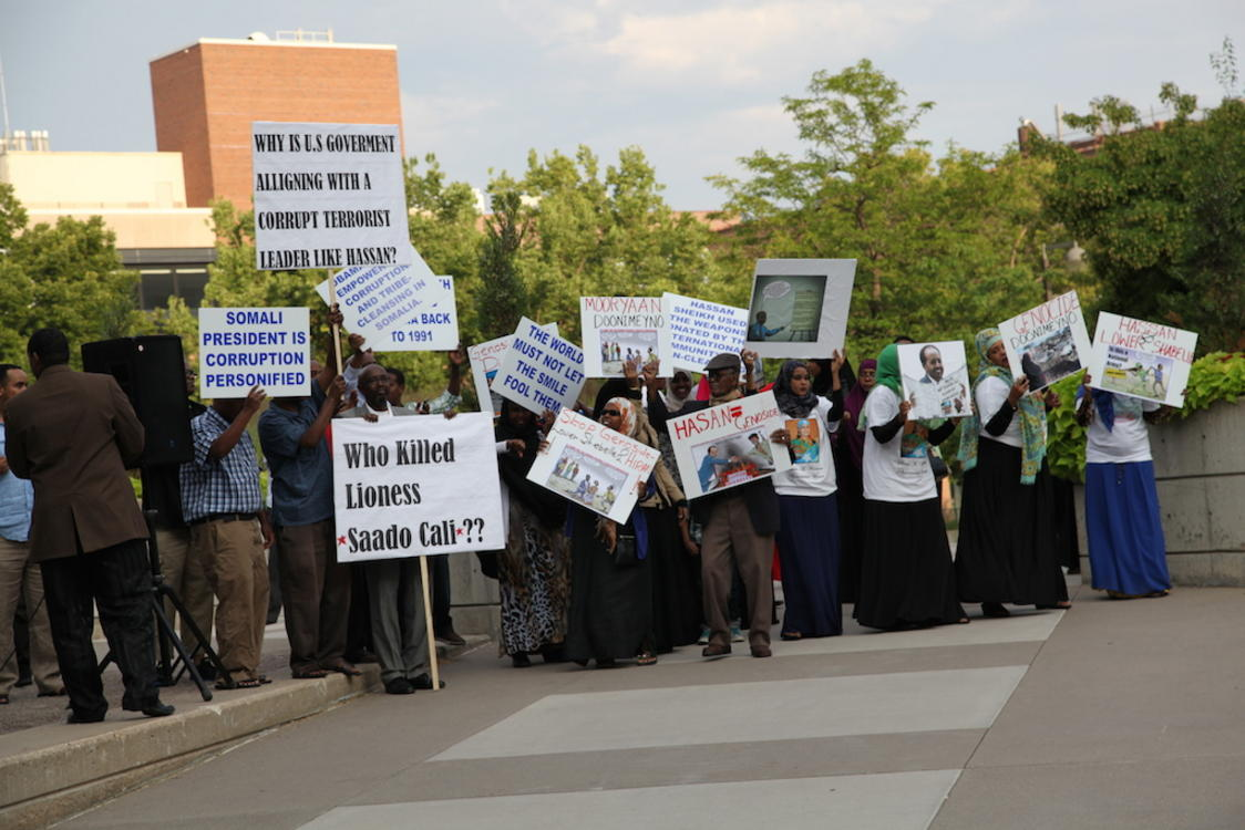 President Hassan Sheikh Mohamud of Somalia was met with protests when he visited Minnesota on Saturday, August 9 2014. Photo: Christina Cerruti/TC Daily Planet
