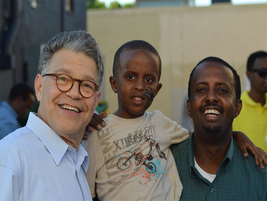 United States Senator Al Franken who is seeking a second term poses with members of the East African community at a past event. Photo: Courtesy Al Franken Campaign