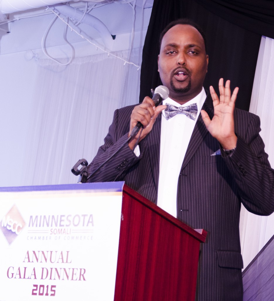 Mohamud Beenebeene, executive director of the Minnesota Somali Chamber of Commerce as kicked off the young chamber's first gala dinner at Safari Restaurant on Saturday, January 10, 2015. Photo: Kaamil Haider/Mshale