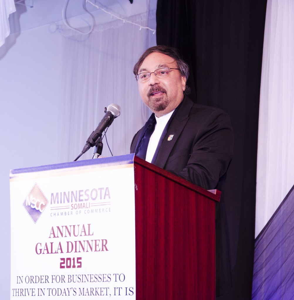 Also making remarks at the gala was Dr. Bruce Corrie, Concordia University's Associate Vice President for University Relations and International Programs, he is the economist instrumental in much of the data available about the African immigrant consumer in Minnesota. Photo: Kaamil Haider/Mshale