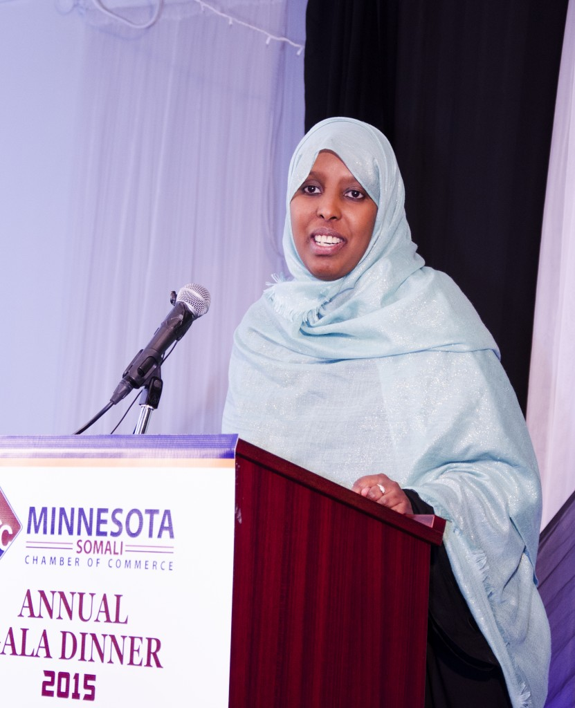 Twin Cities based Researcher, Farhiya Farah, gave a rousing speech at the Somali Minnesota Chamber of Commerce first gala dinner in Minneapolis on Saturday, January 10, 2015. Photo: Kaamil Haider/Mshale