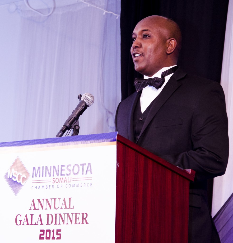 Djibouti-American restaurateur, Abdirahman Kahin, seen here making remarks at the first Minnesota Somali Chamber of Commerce gala dinner, is a key supporter of the chamber. Photo: Kaamil Haider/Mshale