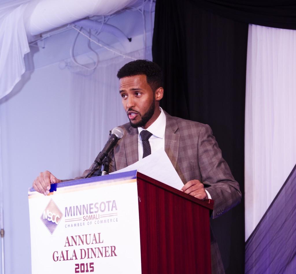 Minneapolis based Voice of America Correspondent, Mahamud Masadde, emceed the first Minnesota Somali Chamber of Commerce gala dinner on Saturday, January 10, 2015. Photo: Kaamil Haider/Mshale