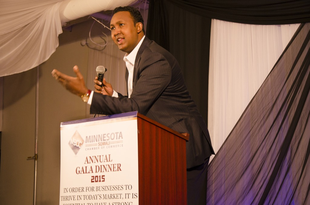 One of Minnesota's business success stories is that of entrepreneur Siyad Abdullahi, seen here making remarks at the first Minnesota Somali Chamber of Commerce gala dinner on Saturday, January 10, 2015 in Minneapolis. Photo: Kaamil Haider/Mshale