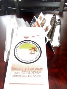 African Paradise menu 2