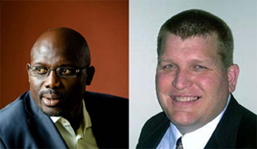 George Weah (left), ex-soccer player and presidential aspirant and Brooklyn Park Mayor jeff Lunde are featured speakers at the Organization of Liberians in Minnesota Inaugural Ball on Saturday, March 14 2015.