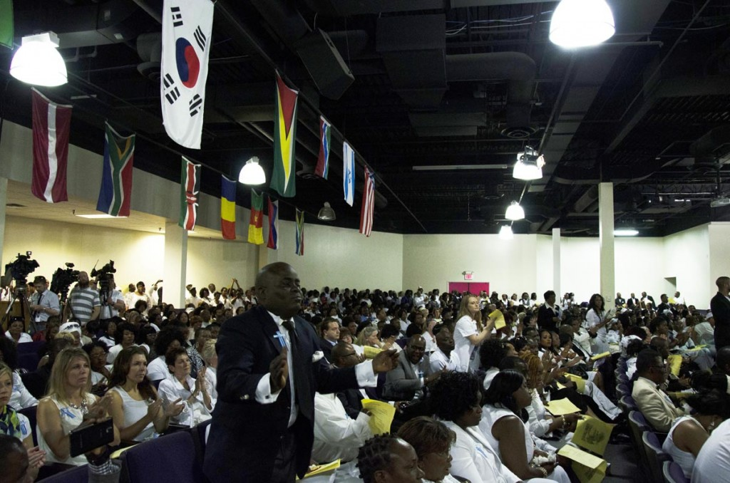 The hundreds of mourners that showed up to mourn 10-year-old Barway Collins during an emotional funeral service at Shiloh Temple International Ministries in Minneapolis on May 2, 2015, exactly three weeks after his body was found on the Mississippi River on Saturday, April 11. His father, Pierre Collins, was taken into custody two days after Barway was found and charged with the murder of his son. Photo: Kaamil Haider/Mshale
