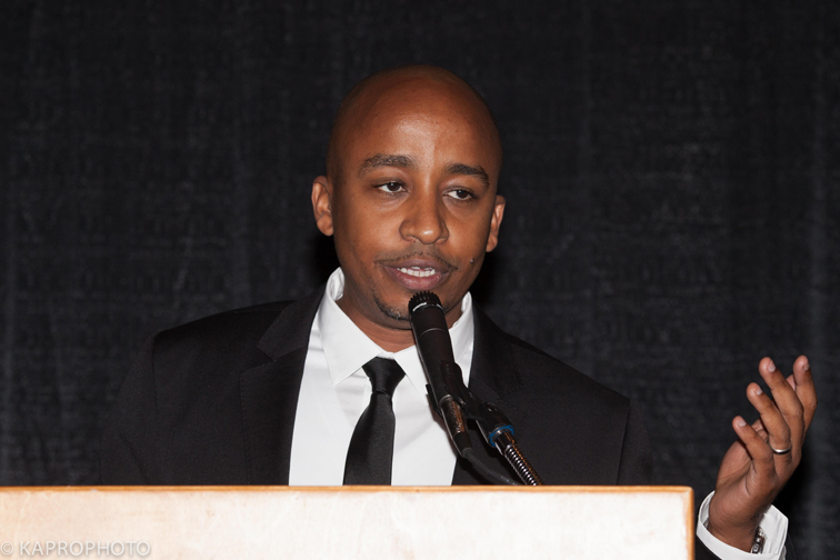 David Kobia, co-founder of Ushaidi and MIT Humanitarian of the Year speaking at the 5th African Awards Gala presented by Mshale Newspaper at the Minneapolis Convention Center where he was the keynote speaker on Saturday, October 10 2015. Visit the Media Gallery for photos from the event. Photo: Mamadou Moustapha Ka for Mshale
