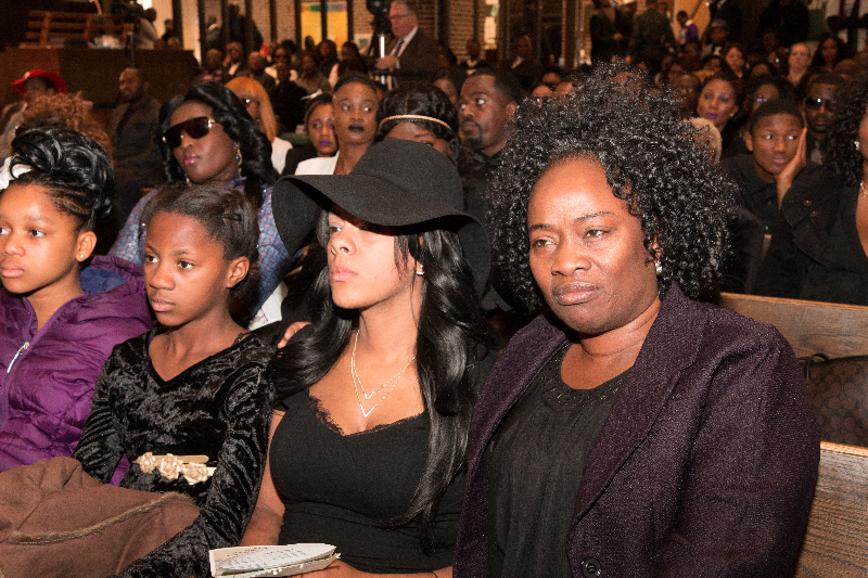 Kareen McCabe (in hat) at her husband's funeral at the Brooklyn United Methodist Church in Brooklyn Center, Minnesota on December 19, 2015. To her immediate right is daughter Yve. The late McCabe's body was discovered at Rush Lake on November 2, 2015 after missing for almost a month. Photo: Courtesy of Liberian Brothers and Sisters Keepers Organization (LIBASKO)