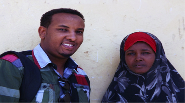 Abdiqani Abdullahi Askar, a psychiatric mental health practitioner and Medical Director of the Somali Mental Health Foundation with a patient, Khadra Dirie, a Somali national in Djibouti that the foundation successfully treated. Photo: Courtesy of Somali Mental Health Foundation