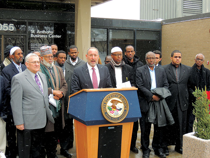 U.S. Attorney for Minnesota Andrew Luger (at podium) continues to face pushback from a large section of the Somali community in his anti-radicalization efforts.
