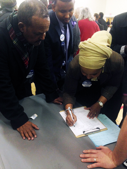 It was a busy night at the Brian Coyle Center on caucus night March 1, 2016 as hundreds turned up up to caucus in the heavily Democratic Somali precinct. Photo: Faiza Abbas Mahamud/Mshale