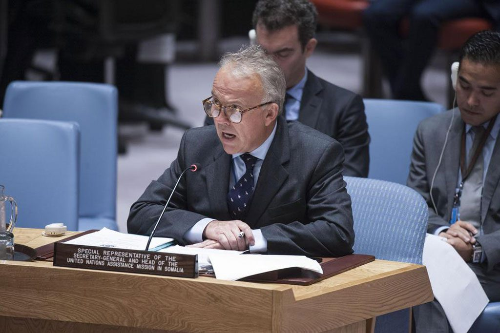 Michael Keating, Special Representative of the Secretary-General and Head of the United Nations Assistance Mission in Somalia (UNSOM), briefs the Security Council. Photo: Kim Haughton/UN